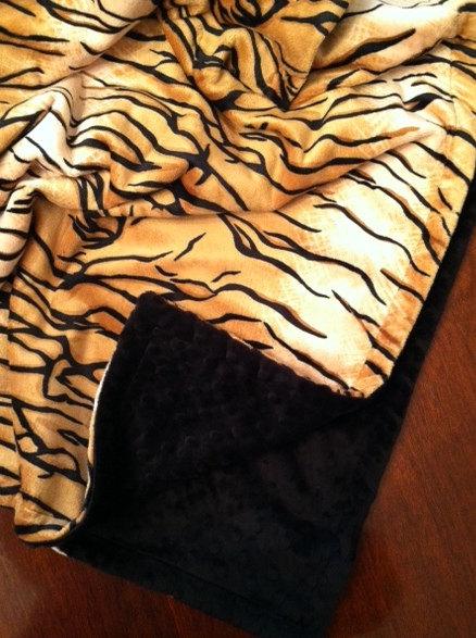 tiger animal print minky blanket