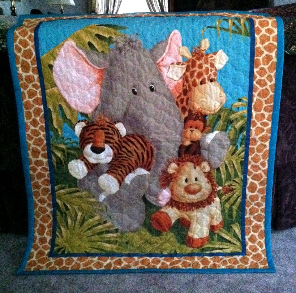 Jungle Baby Quilt Panel Blanket Nursery Wall Hanging Olive